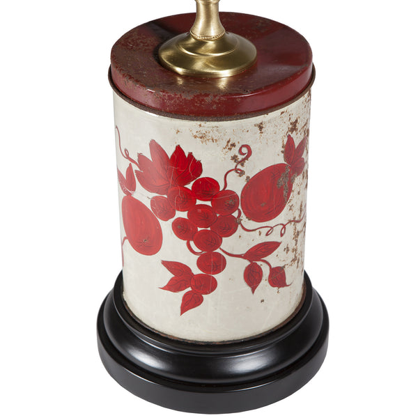 Vintage Red & Creamy White Tin Lamp