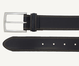 Style 014140- Men's 35mm Genuine Leather Strap with Contrast Double Stitch