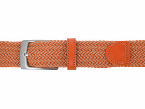 Style 014177- Men's 35mm Two Tone Braid Elastic Strap with Leather Tabs