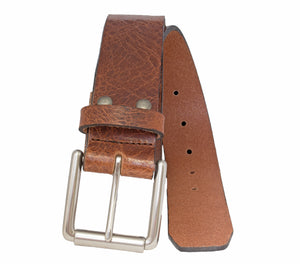 Style 014181- Men's 38mm Genuine Leather Strap with Bushed Roller Harness Buckle