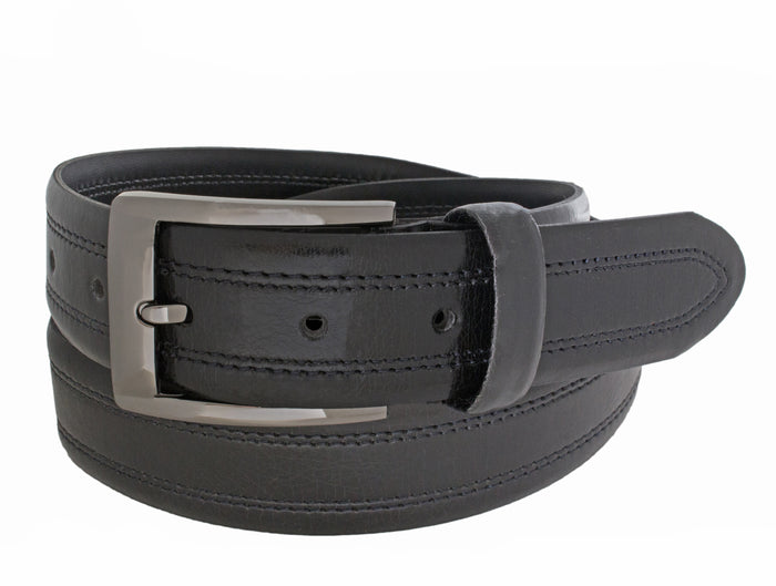 Style 10235 - 35mm Inset Double Stitched Men's Leather Dress Belt