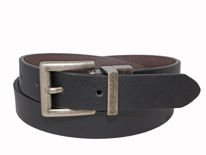 Style 521- 25mm Boys Grained Glazed Leather Reversible Belt