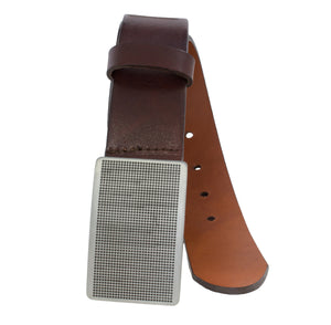 Soft hand stained Italian full-grain leather belt with textured plaque buckle