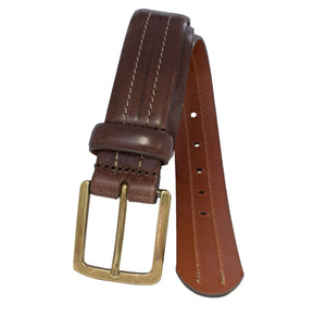 Hand stained Italian full-grain leather belt with center stitch detail