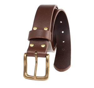 Italian full-grain tumbled leather belt