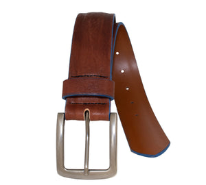 Shrunken Raised Center Italian Full-Grain Leather Belt