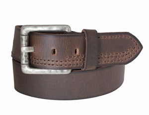 Men's Silver Jeans Belt - Style S300  : 40MM Genuine Leather Stitched Belt