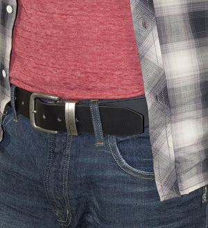 Men's Silver Jeans Belt - Style S304  : 40MM Genuine Leather Belt