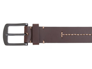Silver Jeans Belt - Style S310  : 40MM Genuine Leather Belt With Antique Black Finish Harness Buckle And Contrast Center Stitch
