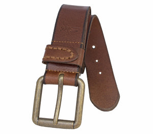 "Silver Jeans Belt - Style S311  : 38MM Men's ""Worn"" Look Genuine Leather Strap with Darker Edging Detail. Antique Brass Finish Roller Harness Buckle"