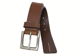 Men's Silver Jeans Belt - Style S314  : 38MM Genuine Leather Contrast Stitch