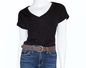 Silver Jeans Belt - Style S501  : 35MM Woman's Flexible Fit Stretch Belt With Antique Nickel Harness Buckle