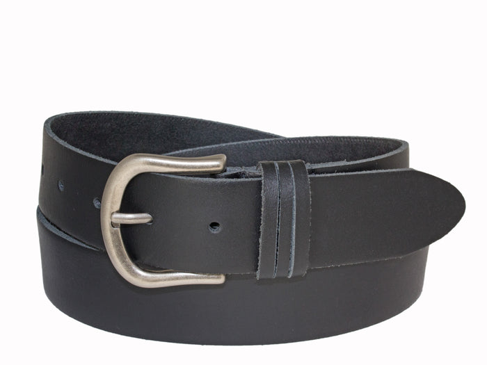Silver Jeans Belt - Style S502  : 35MM Genuine Leather Belt With Triple Loop Detail And Antique Nickel Finish Buckle