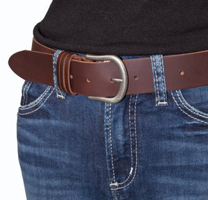 Woman's Silver Jeans Belt - Style S502  : 35MM Genuine Leather Belt