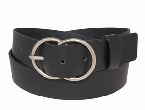 Silver Jeans Belt - Style S505  : 35MM Woman's Genuine Leather Belt With A Double O-Ring Buckle In An Antique Nickel Finish