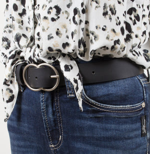 Woman's Silver Jeans Belt - Style S505  : 35MM Genuine Leather Double O-Ring Belt