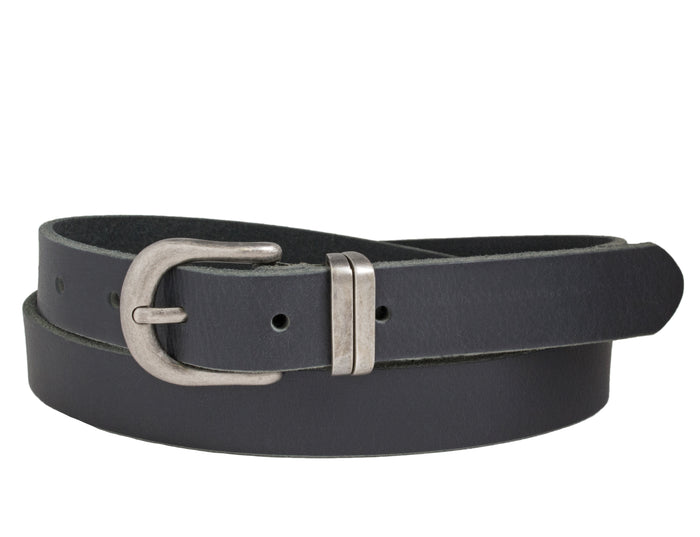 Silver Jeans Belt - Style S507  : 25MM Woman's Genuine Leather Belt With Antique Nickel Finish Harness Buckle And Matching Double Loop