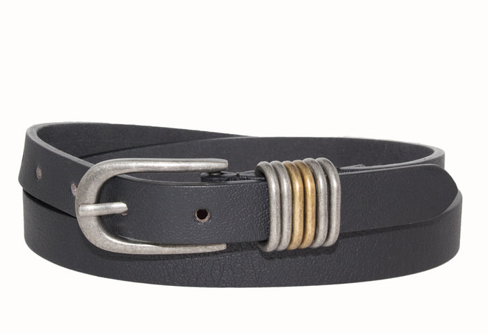 Silver Jeans Belt - Style S508  : 20MM Woman's Genuine Leather Pebble Grain Belt With Antique Nickel Harness Buckle And Dual Finish Multi Loop Detail