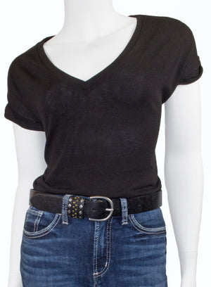 Woman's Silver Jeans Belt - Style S509  : 35MM Genuine Leather Belt with Keeper Detail