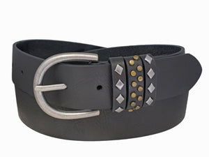 Silver Jeans Belt - Style S509  : 35MM Woman's Genuine Leather Belt With Brass And Antique Nickel Finish Keeper Detail And Antique Nickel Finish Harness Buckle
