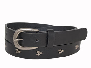 Woman's Silver Jeans Belt - Style S510  : 25MM Genuine Leather Belt With Strap Detail