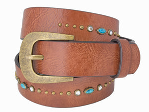Woman's Silver Jeans Belt - Style S511  : 29MM Genuine Leather Belt With Embellishment