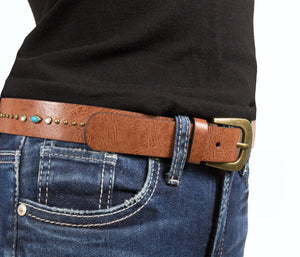 Silver Jeans Belt - Style S511  : 29MM Genuine Leather Belt With Brass Finish Harness Buckle And Center Embellishment