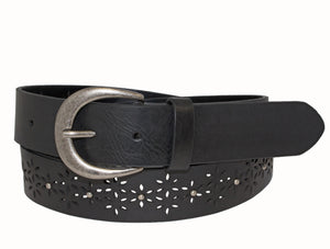 Woman's Silver Jeans Belt - Style S512  : 35MM Genuine Leather Jean Belt