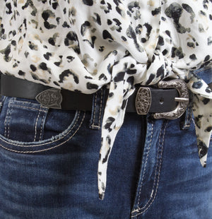 Silver Jeans Belt - Style S513  : 25MM Woman's Genuine Leather Belt With Lotus Design And Antique Nickel Three Piece Hardware