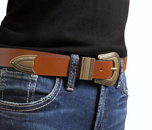 Woman's Silver Jeans Belt - Style S514  : 25MM  Western Style Genuine Leather Strap