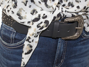 Silver Jeans Belt - Style S515  : 38MM Woman's Genuine Leather Antique Nickel Studded Belt With Western Detail Harness Buckle