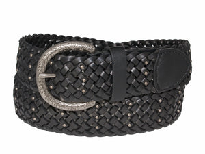Silver Jeans Belt - Style S516  : 38MM Woman's Braided Belt With Nail Head Detail on Antique Nickel Harness Buckle