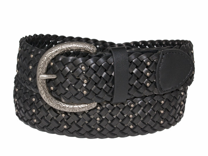 Silver Jeans Belt - Style S516  : 38MM Braided Belt With Nail Head Detail on Antique Nickel Harness Buckle