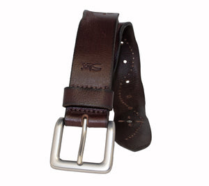 Woman's Silver Jeans Belt- Style S517 : 35MM Genuine Leather Worn Edge with Stud Detail