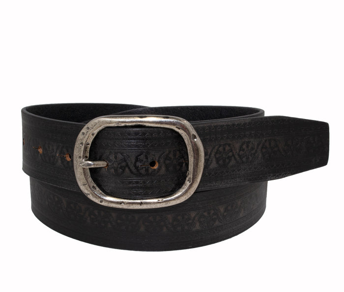 Woman's Silver Jeans Belt- Style S518 : 35MM Genuine Leather Belt with Marrakesh inspired Emboss