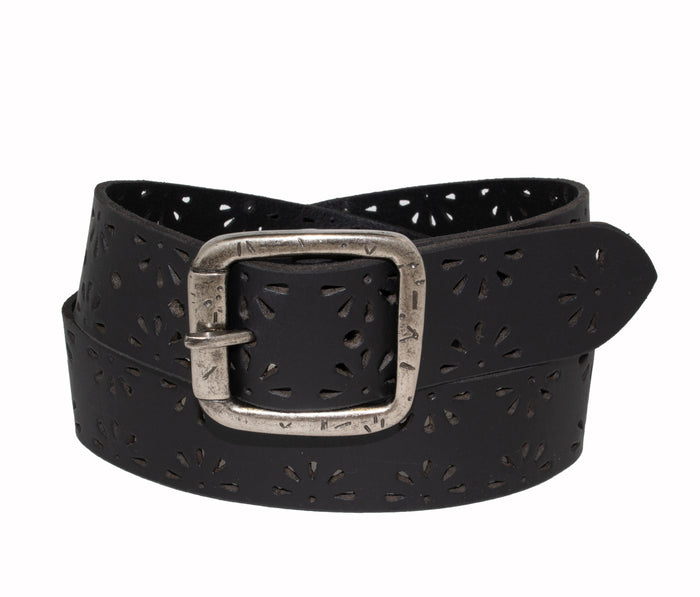 Woman's Silver Jeans Belt- Style S521 : 35MM Genuine Leather Belt with Flower Burst Edge