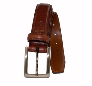 Smooth Hand Finished and Stitched Italian Full Grain Leather Belt
