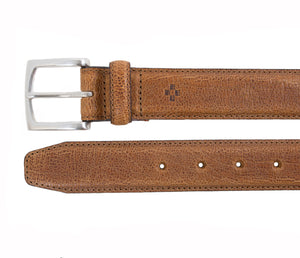 Stitched Pebble Grain Italian Leather Belt