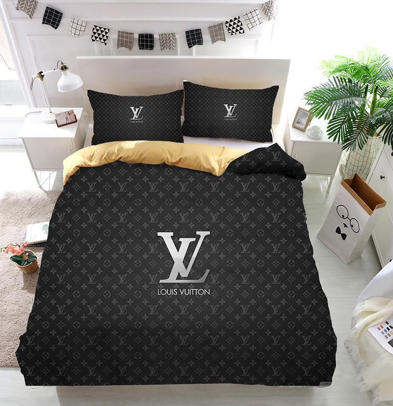 Luxury LV Louis Vuitton Logo Custom Bedding Set (Duvet Cover & Pillowcases)