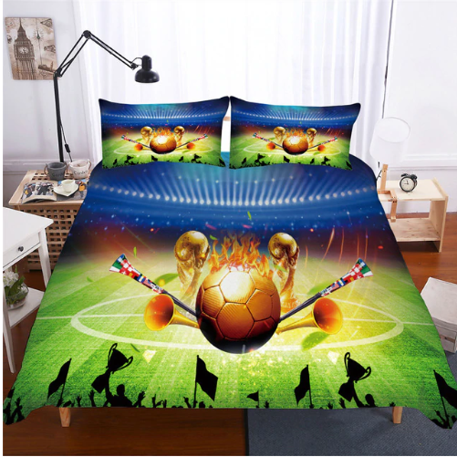 3D Bedding Set football Print Duvet cover set lifelike bedclothes with pillowcase - #2 (3 styles)