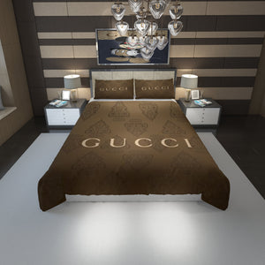 Brown Gucci Inspired Bedding Set Duver Cover