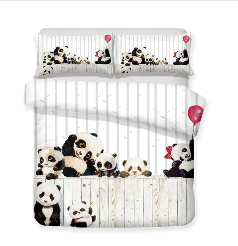 3D Bedding Set Panda Print Duvet cover set lifelike bedclothes with pillowcase