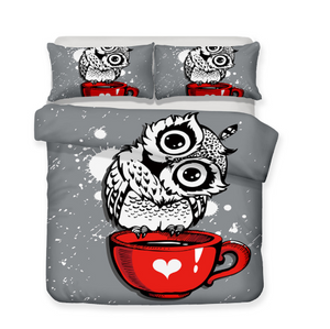 3D Bedding Set Owl Print Duvet cover set lifelike bedclothes with pillowcase bed set home