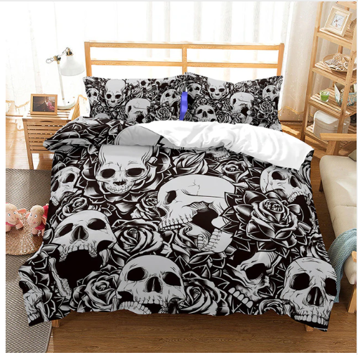 3D Bedding Set skull Print Duvet cover set lifelike bedclothes with pillowcase - #1 (5 styles )
