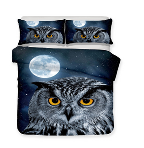 3D Bedding Set Owl Print Duvet cover set lifelike bedclothes with pillowcase