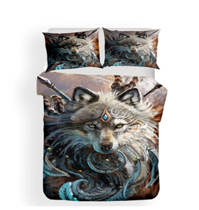 3D Bedding Set Wolf Print Duvet Cover Set Lifelike Bedclothes with Pillowcase