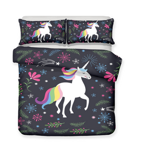 3D Bedding Set Unicorn Print Duvet cover set lifelike bedclothes with pillowcase