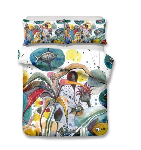 3D Bedding Set Underwater world Print Duvet cover set lifelike bedclothes with pillowcase bed set home