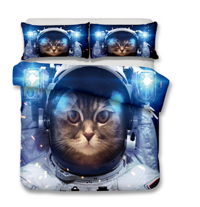 3D Bedding Set Cat Print Duvet cover set lifelike bedclothes with pillowcase bed set home