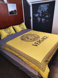 3D Custom Gold Versace Bedding Set (Duvet Cover & Pillowcases)